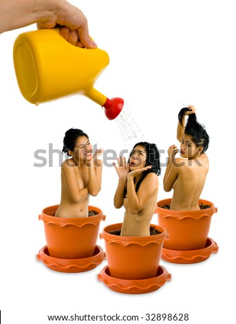 fun concept picture. growing beautiful, nude women, isolated on white - stock photo