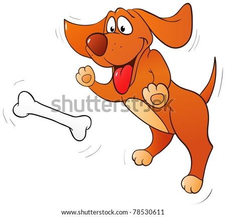 Fun dog jumping for bone isolated on white - stock photo
