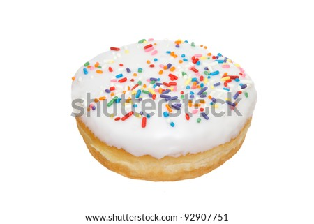Fun Donut with Sprinkles Isolated on a White Background - stock photo