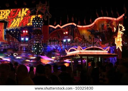 Fun Fair at Night, Merry-go-round - stock photo