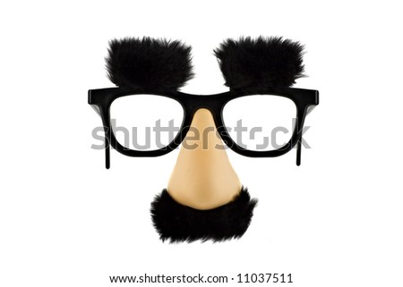Fun fake mask isolated on white background - stock photo