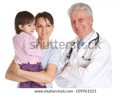 Fun family with children go to the doctor