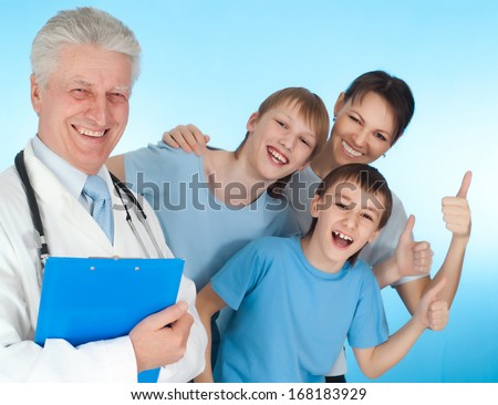 Fun family with children go to the doctor - stock photo