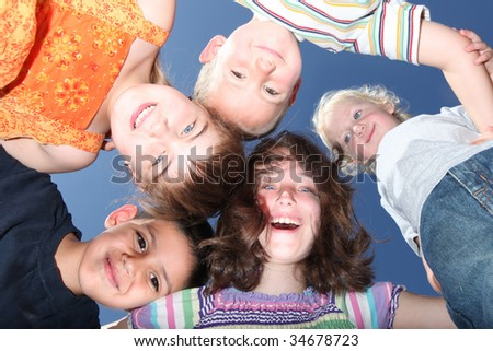 Fun Five Happy Kids Outdoors on A Sunny Day - stock photo
