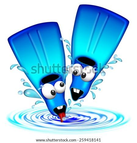 Fun Flippers Fins Cartoon - stock photo
