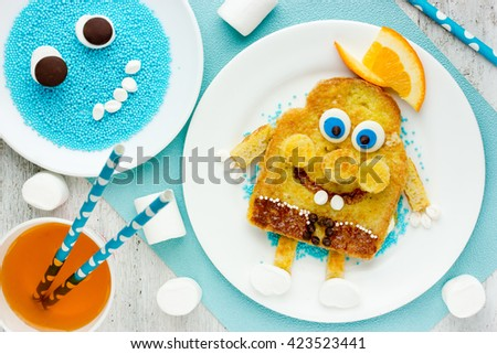 Fun food for kids - sweet toast for the child in the form of funny character - stock photo