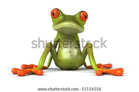 Fun frog sitting down - stock photo