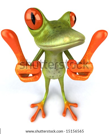 Fun frog with thumbs up - stock photo