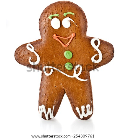 Fun ginger gingerbread man isolated on white background - stock photo