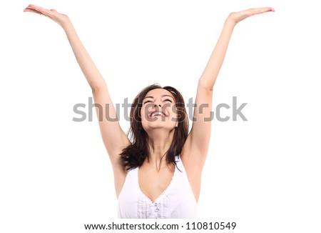 Fun girl isolated - stock photo