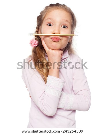 Fun girl isolated on white. School child elementary. Humour - stock photo