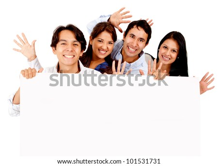 Fun group of friends holding a banner - isolated over a white background - stock photo