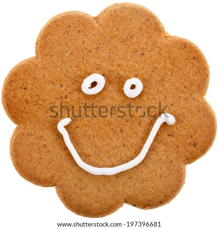 fun happiness cookie surface texture  isolated on a white background - stock photo