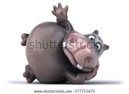 Fun hippo - stock photo