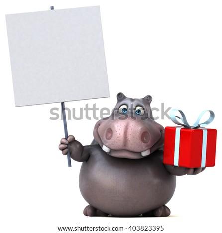 Fun hippo - stock photo