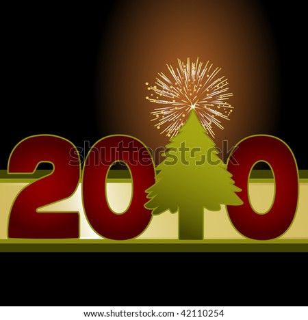 Fun 2010 image using a christmas tree as the number one topped with a fireworks explosion star. Creative for New Years celebrations, posters and templates.