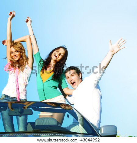fun  in cabriolet - stock photo
