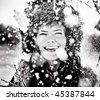 Fun in the Snow. black and white - stock photo