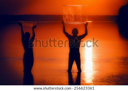 fun in the water - stock photo