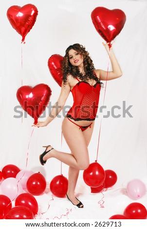 fun in valentine's - stock photo