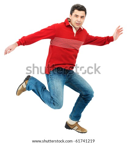 Fun man jumping a over white background