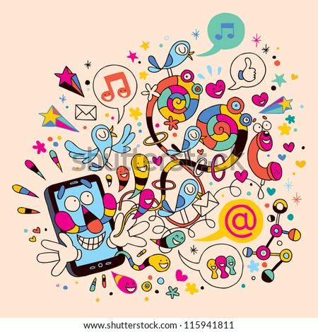 Fun mobile phone - stock photo