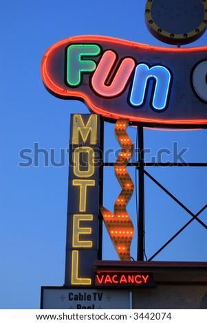Fun motel neon sign detail, Las Vegas, Nevada, USA - stock photo
