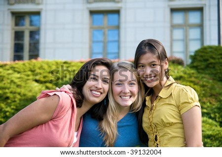 Fun multicultural College students - stock photo
