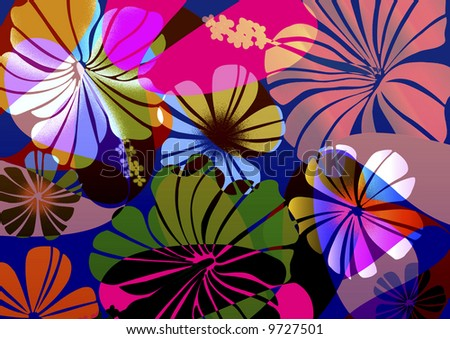 Fun neon tropical floral with geometric layers. - stock photo