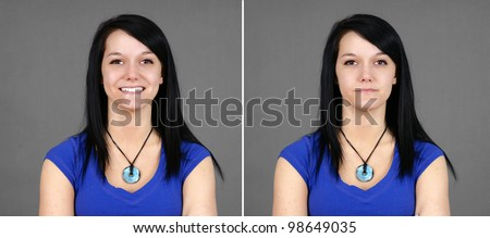 Fun pair of portraits of a pretty young brunette woman with two facial expressions: smiling for happy and neutral or indifferent (large format). - stock photo