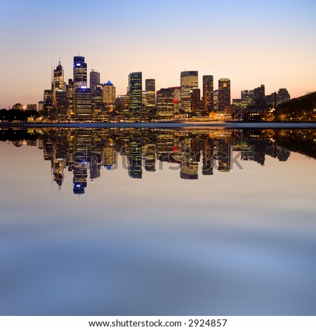 Fun picture of Sydney skyline from Kirribilli, with a photoshop reflection. - stock photo