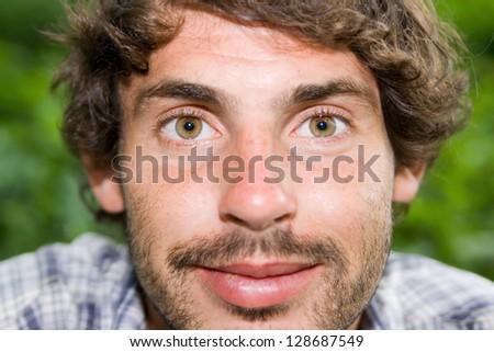Fun portrait of the smile man - stock photo