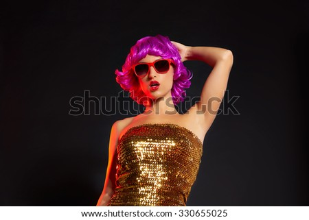 fun purple wig girl dancing party with red glasses on black background