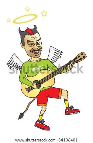 Fun rock music superstar - stock photo