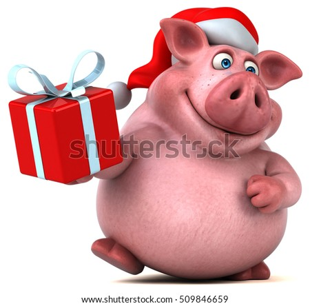 Fun santa pig - 3D Illustration