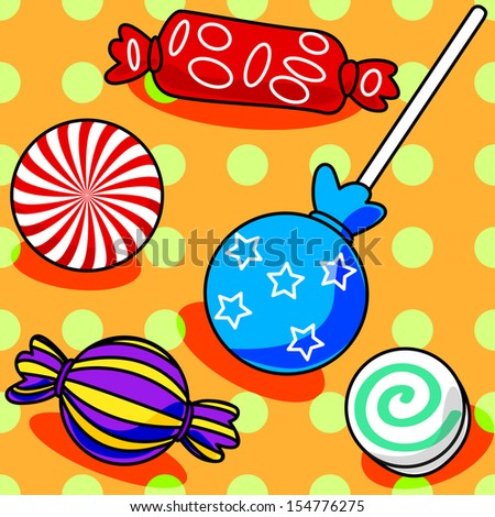 Fun seamless candy pattern with polka dots on orange - stock photo