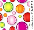 Fun seamless pattern made of different size glossy circles or bubbles in pale and dark pink, red, lime green and orange, all with shadows over white background. - stock vector