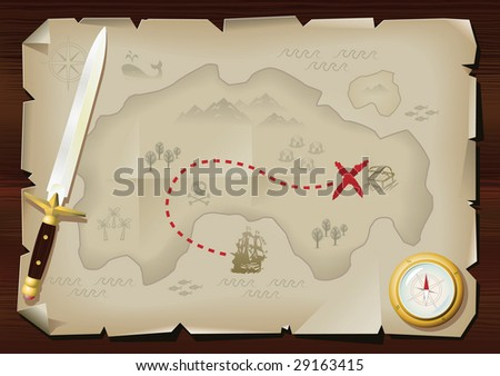 Fun style pirate's treasure map - stock photo