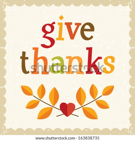 Fun Thanksgiving card in vintage colors with text greeting and cute retro frame. - stock photo