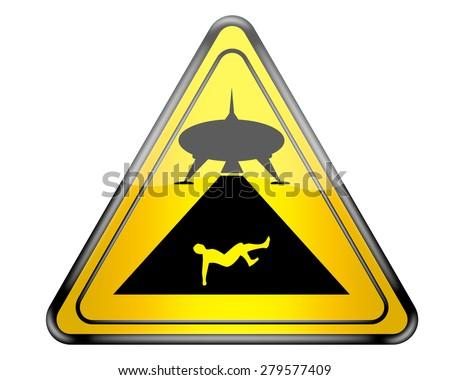 Fun UFO warning sign. - stock photo
