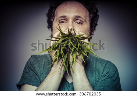 Fun, vegetarian concept, man with green grass in the mouth - stock photo