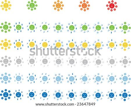 Fun weather icons set with smiles - stock photo