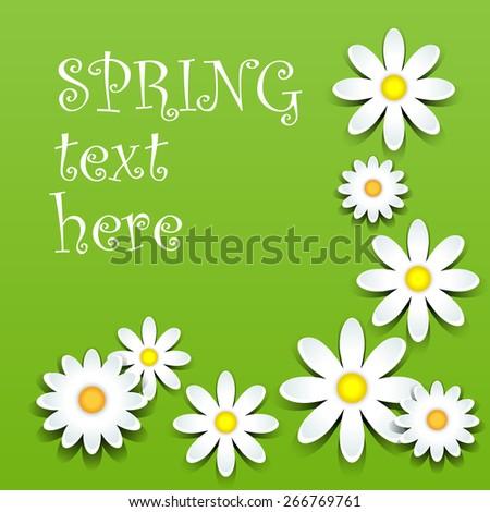 Fun white daisies with shadows over green, spring theme - stock photo