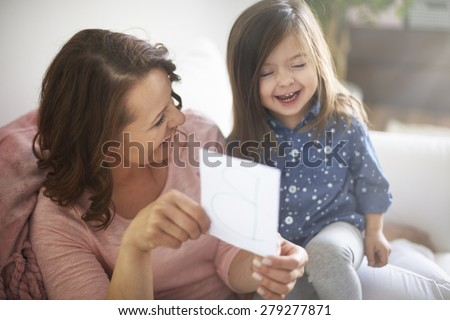 Fun with mom during the learning - stock photo