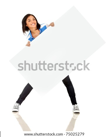 Fun woman holding a banner ad - isolated over a white background - stock photo