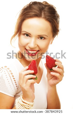 Fun woman with strawberry
