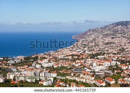 Funchal aerial view from Barcelos viewpoint, Madeira island, Portugal - stock photo