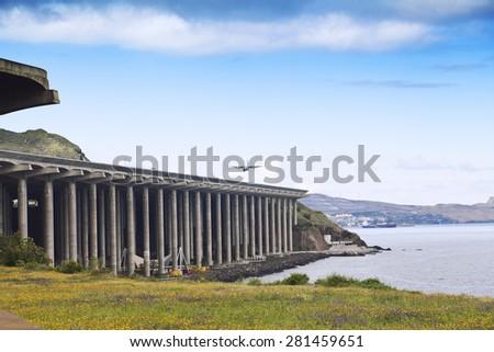 Funchal Airport runway - stock photo