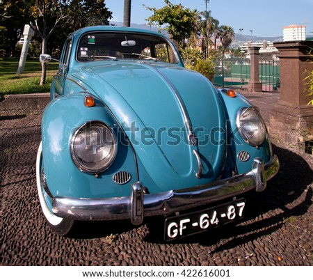 FUNCHAL, MADEIRA - JUNE 30, 2011: Blue retro car Volkswagen beetle