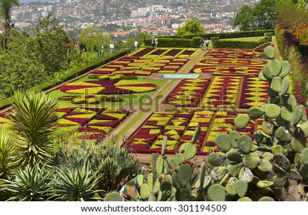 FUNCHAL, MADEIRA - June 15 2015: Funchal Botanical Gardens on July 15 2015 in Madeira island, Portugal, Europe - stock photo